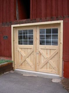 One Piece Garage Door Plans Best Of Crossbuck Exterior Door Photo 1 In 2020 – luxury beach house plans Barn Door Garage, Exterior Barn Doors, Carriage Garage Doors, Garage Door Design, Diy Barn Door, Diy Exterior, Cafe Exterior, Bungalow Exterior, Exterior Stairs