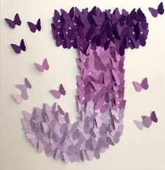 3D Butterfly Wall Art , Purple Ombre, Alphabet Letter J, Nursery Art, Baby Girl  Bring your home to life with this 3D canvas art. As this