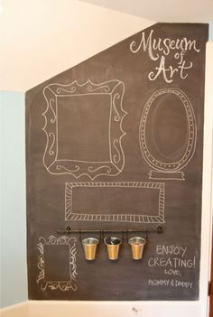 Chalkboard Wall found on Felt So Cute.  Chalkboard paint and IKEA Fintorp caddy system.
