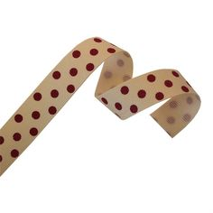 Cream Grosgrain Ribbon with Red Polka Dots