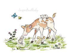 Children's Wall Art- Farm Nursery Decor - Cow