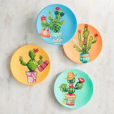 Pier 1 Imports Fun Cactus Melamine Appetizer Plate Set of 4 Cactus Painting, Ceramic Painting, Ceramic Art, Pottery Painting Designs, Paint Designs, Outdoor Dinnerware, Pichwai Paintings, Southwest Decor, Cactus Decor