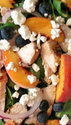 Blueberry peach chicken salad - make with feta instead of goat