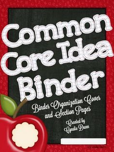 Common Core Idea Binder {Binder Cover and Section Pages