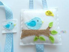 Wee Blue Bird Hair Clip Tidy  - Hand Stitched Felt Creation