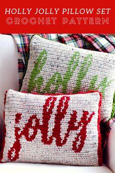 Christmas crochet pattern, crochet pillow pattern, christmas pillow pattern, crochet pillow cover, christmas decor, HOLLY JOLLY PILLOW set #crochetpillowpatterns #crochetpillow #crochetchristmaspatterns #crochetpillows #affiliate