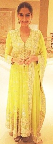 Sonam Kapoor in yellow suits - yourstylentrend.com