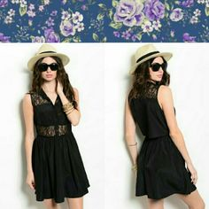 """Little Black Dress This cool shirt dress features a sheer lace bodice with strategic solid insert. Bodice also has button placket and pointed collar. Gathered waist.  Fabric Content: 100% POLYESTER Description: L: 34"""" B: 18"""" W: 12"""" Dresses"""