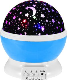 Night Lighting Lamp [ 2 Gneration, 4 LED Beads, 3 Model Light ] Romantic Rotating Cosmos Star Sky Moon Projector , Rotation Night Projection Lamp Kids Bedroom Bed Lamp for Christmas Children (Blue) - Christmas And Newyear Items Required