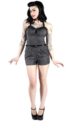 All SOURPUSS Brand Rompers NOW 20% OFF!!!    LEOPARD ROMPER    You'll be one fierce kitten strutin' in our Leopard romper! This stretch cotton gray leopard print romper has an adjustable halter, removable skinny belt & decorative button.    http://www.sourpussclothing.com/index.asp?cat=Rompers+%26+Shorts