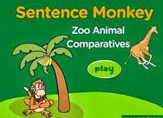 English Corner Time: Sentence Monkey. Zoo Animal Comparatives http://englishcornertime.blogspot.com