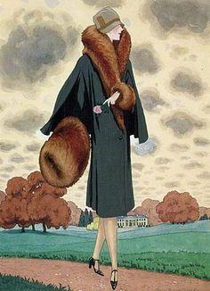 Fashion illustration by Pierre Brissaud for Harper's Bazaar, 1926.