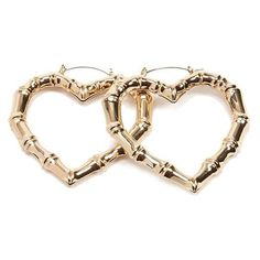 Forever21 Bamboo Inspired Heart Hoop Earrings ($4.90) ❤ liked on Polyvore featuring jewelry, earrings, forever 21 earrings, polish jewelry, clasp earrings, heart jewelry and hoop earrings