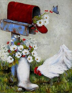 Stella Bruwer Art white boot with daisies red mailbox on blue post white chicken blue butterfly Stella Art, Creation Photo, Daisy, Country Art, Tole Painting, Pictures To Paint, Beautiful Paintings, Garden Art, Abc Garden