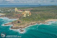 Waco Bi-Plane on a Fighter Pilot Sunshine Coast Australia adventure flight. Photography by Mark Greenmantle. Adventure Company, Coast Australia, Fighter Pilot, Sunshine Coast, Plane, Aircraft, Water, Photography, Outdoor
