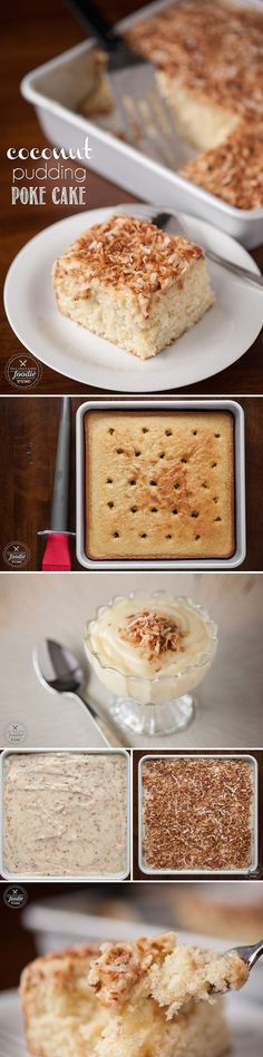 """Coconut Pudding Poke Cake is so moist and perfectly sweet because you """"poke"""" holes into the cake to enable the homemade coconut pudding to be in each bite."""