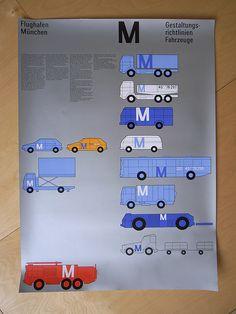 Flughafen Munchen    Erscheinungsbild  Design: Otl Aicher  Poster featuring ground support vehicles at Munich airport.