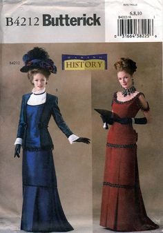 Butterick History B4212 Misses' Victorian Costume Sewing Pattern - Uncut - Size 6, 8, 10