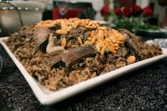 Meat and rice with nuts