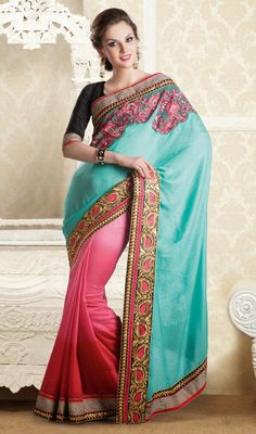 Cyan Blue and Pink Shade Net Jute Half N Half Saree Showcase a blend of traditional and modern style donning this cyan blue and pink jute net half n half saree featuring second half with resham embroidered bold decorative patterns decked on with stick on crystals and motis on the upper part. Similar worked foliage patterned patch border intensifies the drape look. Comes with a matching stitched round neck blouse with 6 inches sleeves. #HighFashionDesignerSaree #BeautifulIndianSarees