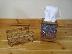 Vintage Set Gold Ormolu Square Tissue Holder Guest Hand Towel Tray Vanity Metal | eBay