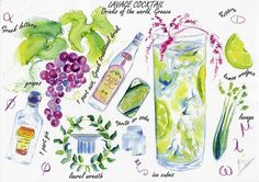 Lavage cocktail. Watercolor print by VioletArtXXI on Etsy, €15.00