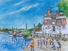 'The White Cross Pub', print from watercolour of the White Cross on the Thames, Richmond, Surrey Richmond Upon Thames, Richmond Surrey, Richmond London, White Crosses, Creative Illustration, Watercolor Landscape, Life Drawing, Sculptures, Watercolours