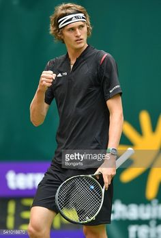 Alexander Zverev of Germany celebrates in his half final match against Roger Federer of Switzerland during day six of the Gerry Weber Open at Gerry Weber Stadium on June 18, 2016 in Halle, Germany.