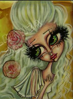Art girl, big eye, painting, romantic, doll dreams