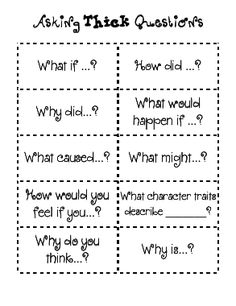 Here's a set of sentence stems for helping students ask thick questions.