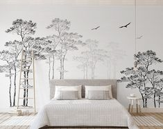 Are Wall Murals the New Wall Paper? 12 Monochrome Murals I& Loving Right Now Are Wall Murals the New Wall Paper? 12 Monochrome Murals I'm Loving Right NowNow, you know I've been a fan of wallpaper now for years. Decor, Bedroom Wall Art, Wall Murals, Wall Wallpaper, Bedroom Wall, Home Decor, Bedroom Murals, Kids Wall Decals, Bedroom Art
