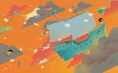 Shahar Kober Illustration - shahar, kober, shahar kober, commercial, picture book, fiction, educational, digital,trade, retro, vintage, textured, printed, boats, ships, mythical, dreaming, flying, clouds, sky, pony, unicorns, horses, squirrels, boys, gels, cats, kitty, kittens, dogs, stars, dragons, balloons,