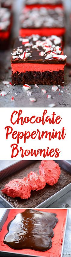These Chocolate Peppermint Brownies have a fudgy chocolate brownie base and melt-in-your-mouth peppermint buttercream frosting topped with smooth chocolate mint icing and crushed candy canes. They would be perfect for Christmas or even Valentine's Day! #peppermint #brownie