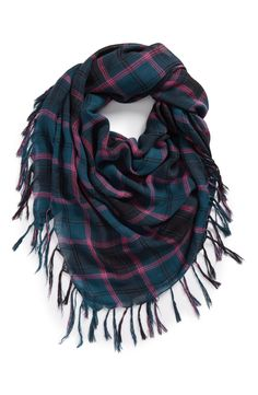 Cute plaid scarf with fun fringe.