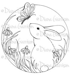 Now available on Etsy - Bunny Digi Digital Stamp by Diana Garrison. $3.00