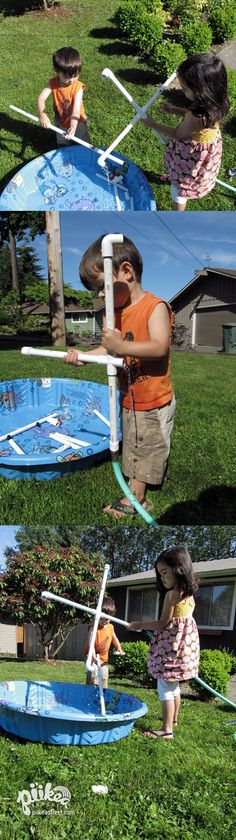 In the summer sun with their PVC Construction Set.  An Original #kids #craft by www.piikeastreet.com #piikeastreet