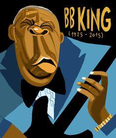 BB King / Musician / Illustration by Francisco Javier Olea Bb King, Jazz Art, City People, Senior Project, People Illustration, Blues Music, Music Guitar, Scandinavian Christmas, Cool Posters