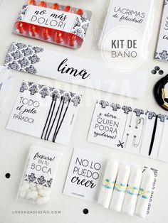 KIT DE BAÑO CHICAS! Para cumple de 15 o casamientos. Todo personalizado! Lorenzadiseño.co / infolorenza.com
