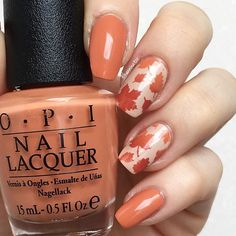 OPI - Freedom of peach • OPI - Yank my doodle • OPI - Pale to the chief • @snailvinyls - Leaves stencils