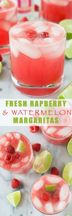 Raspberry Watermelon Margaritas are fruity and lighter thanks to fresh watermelon puree, a skinny simple syrup and the sparkling water toppe...