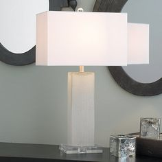 Frosted Column Modern Table Lamp