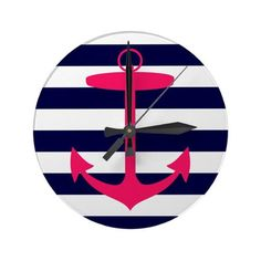 wall clock with nautical anchor