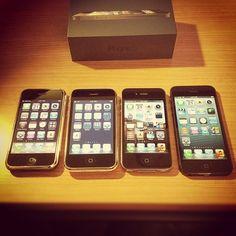 初代iPhoneからiPhone 5まで。iPhone 5の実機はいい感じ。薄くて軽い。シミュレータでは分からない感覚的な部分がいい。ディスプレイが長くなっても親指がちゃんと届く。     Hmm I like
