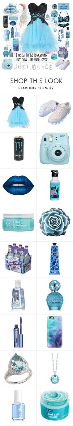 """""""Just Dance XxX"""" by cory-price ❤ liked on Polyvore featuring CASSETTE, Fujifilm, Lime Crime, H2O+, L'Occitane, Lindt, Marc Jacobs, Benefit, Casetify and London Road"""