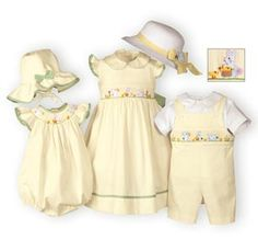 Embroidered bunnies and chicks decorate this charming, hand-smocked Easter outfit. Bishop style bubble of pale yellow cotton piqué with ruffled arm openings and green gingham trim. Matching bonnet ties under chin Girls Spring Dresses, Girls Easter Dresses, Little Girl Dresses, Easter Outfit For Girls, Cute Outfits For Kids, Baby Boy Outfits, Girls Special Occasion Dresses, Frocks For Girls, Toddler Dress