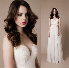 Flowing Chiffon A-Line Wedding Dress .