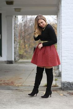 Holiday Party Style | Printed Full Skirt | OTK Boots | Christmas outfit