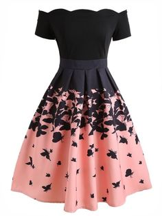 Black Butterfly Swing Dress A sweet dress in fabulous vintage appeal fresh from Retro Stage. A gorgeous vintage style dress full of feminine radiance, the gorgeous pink and black silhouette is dancing with butterfly throughout the Cute Prom Dresses, 50s Dresses, Elegant Dresses, Pretty Dresses, Homecoming Dresses, Beautiful Dresses, Short Dresses, Maxi Dresses, Casual Dresses