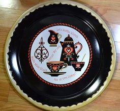 Vintage Metal Tray Coffee Theme Black Red White Kaffee Klatch Retro Coffee Lover Decor PanchosPorch