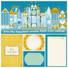 Official Disney image download and official Project Life cards for use in a Small World scrapbook page layout idea for a memory book or photo book